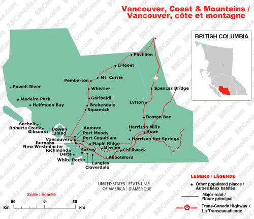 Map Mountains Vancouver Island
