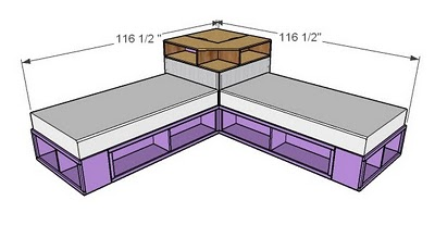 Space Saving Diy Corner Unit For Twin Storage Bed