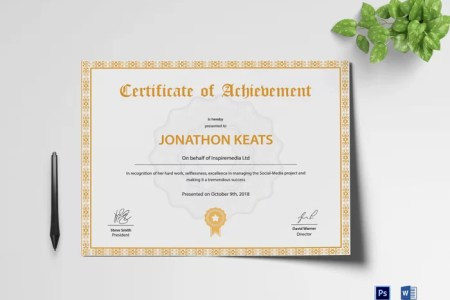 300 Best Certificate Templates 2018 Achievement Certificate Template