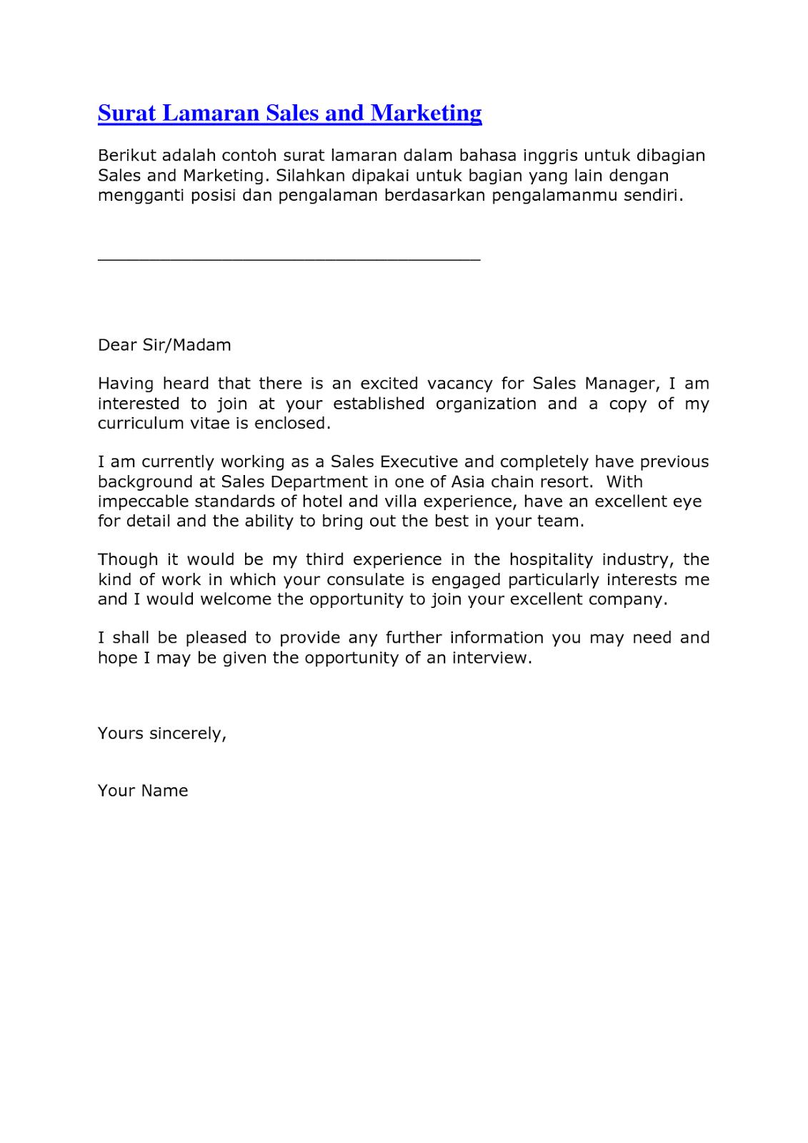 Surat Lamaran Pekerjaan Dalam Bahasa Inggris Dengan Artinya The