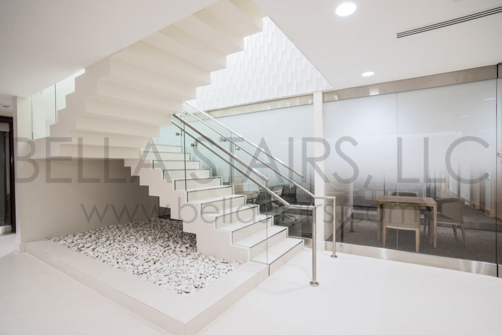 Commercial Staircase Design Vitas Headquarters Bella Stairs | Staircase Design For Commercial Buildings | Cylindrical Glass | Enclosed | Beautiful | Central Staircase | Sleek