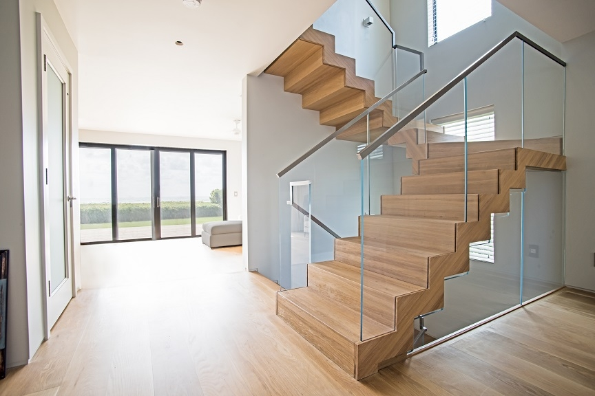 Floating Staircase Glass Railings In Juno Beach Bella Stairs | Wood And Glass Staircase | Stair Case | Simple | Spiral | Small | Light Oak Glass