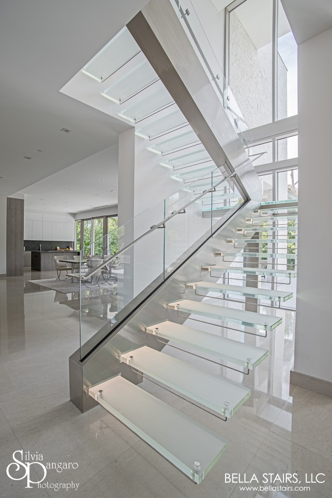Floating Glass Staircase With Led Lighting Bella Stairs | Floating Stairs With Glass Railing | Wall | Commercial | Glass Staircase | Thin Glass | Modern