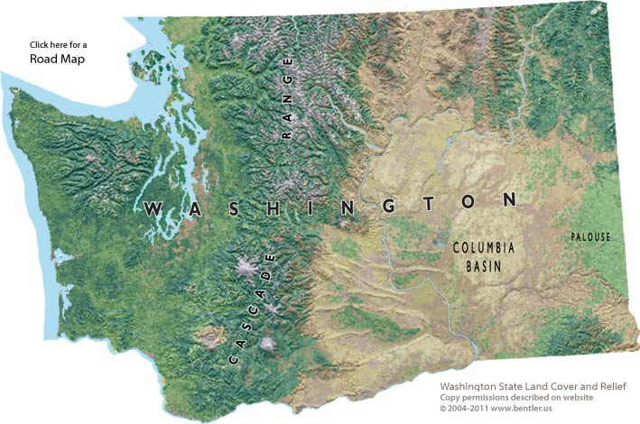 Shaded relief map of Washington State Washington State map