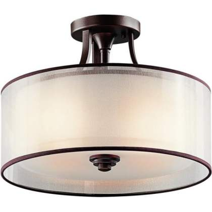 Lacey Semi Flush Fitting Traditional Low Ceiling  Bronze Fitting Light LACEY traditional semi flush fitting bronze ceiling light with drum shade