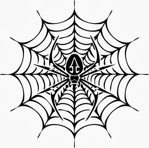 spider web coloring page # 11