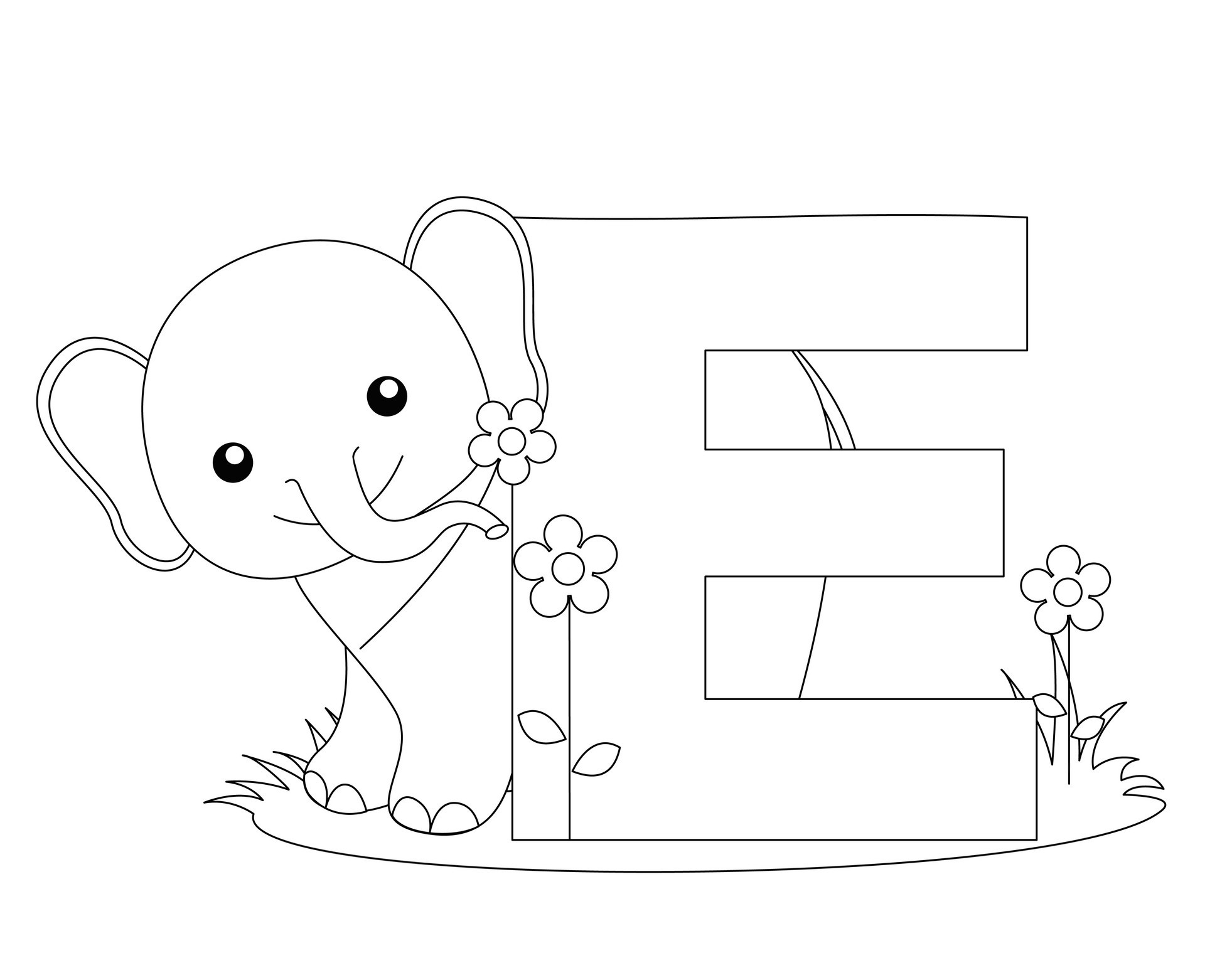 Preschool Coloring Pages Letter E Coloring Page
