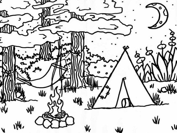 camping coloring page # 1