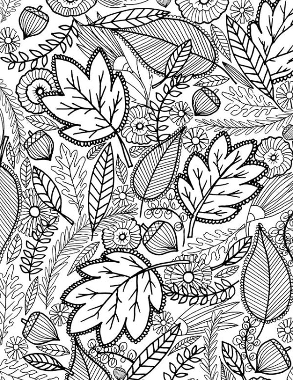 fall leaves coloring page # 78