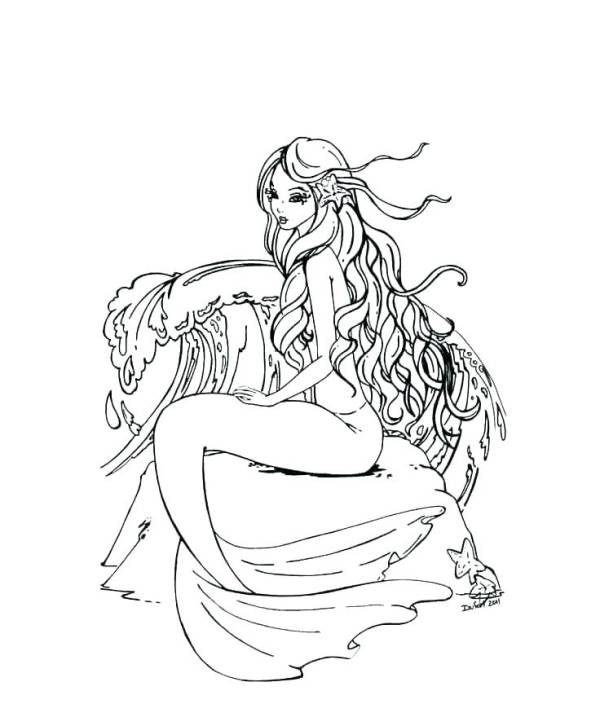mermaid coloring pages for adults # 19