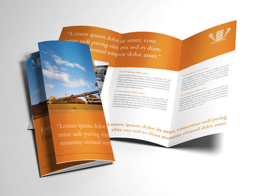 InDesign Brochure Templates  Free Template Download   Industrial Mining Trifold Brochure