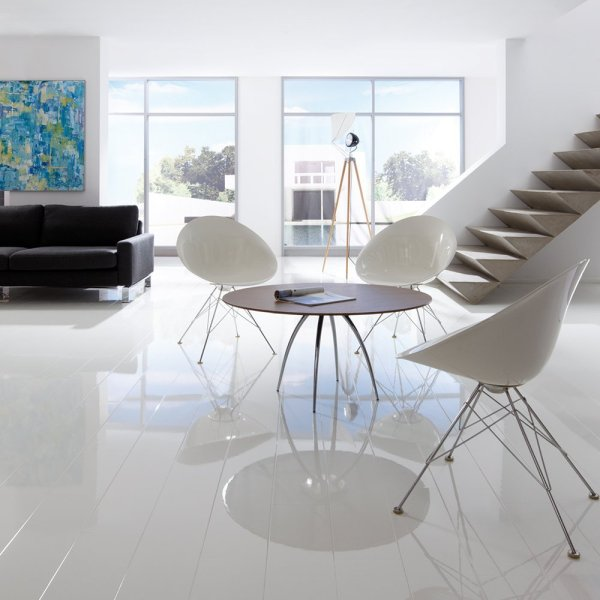 Piano Finish Laminate Flooring   Add A Glow To Your Space Elesgo Super Gloss White laminate flooring