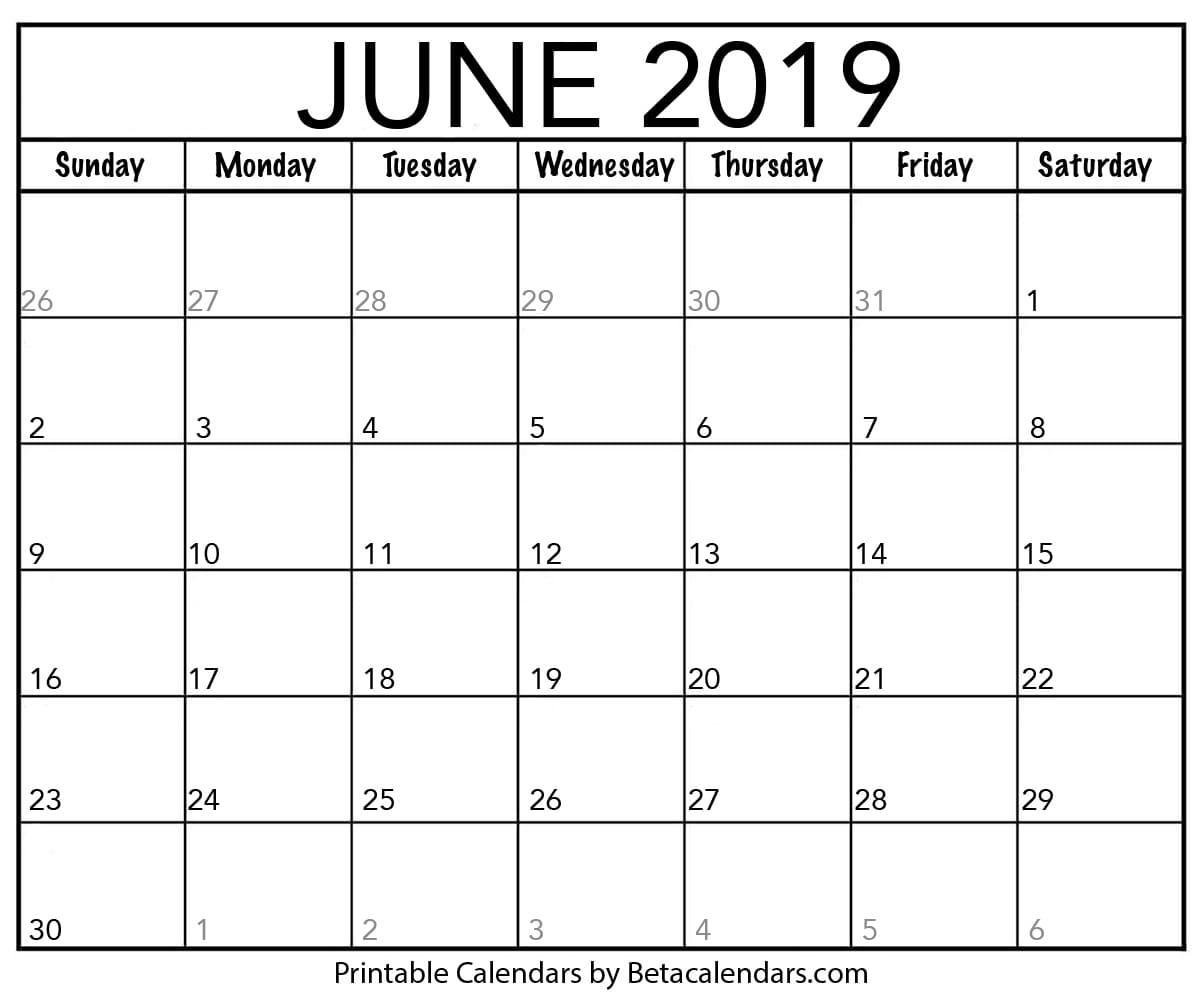 Blank June 2019 Calendar Printable - Beta Calendars