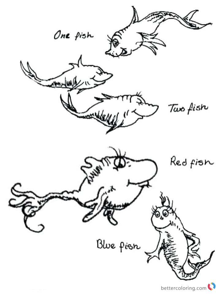 Fish One Blue Coloring Fish Printable Dr Fish Red Two Seuss Fish Pages