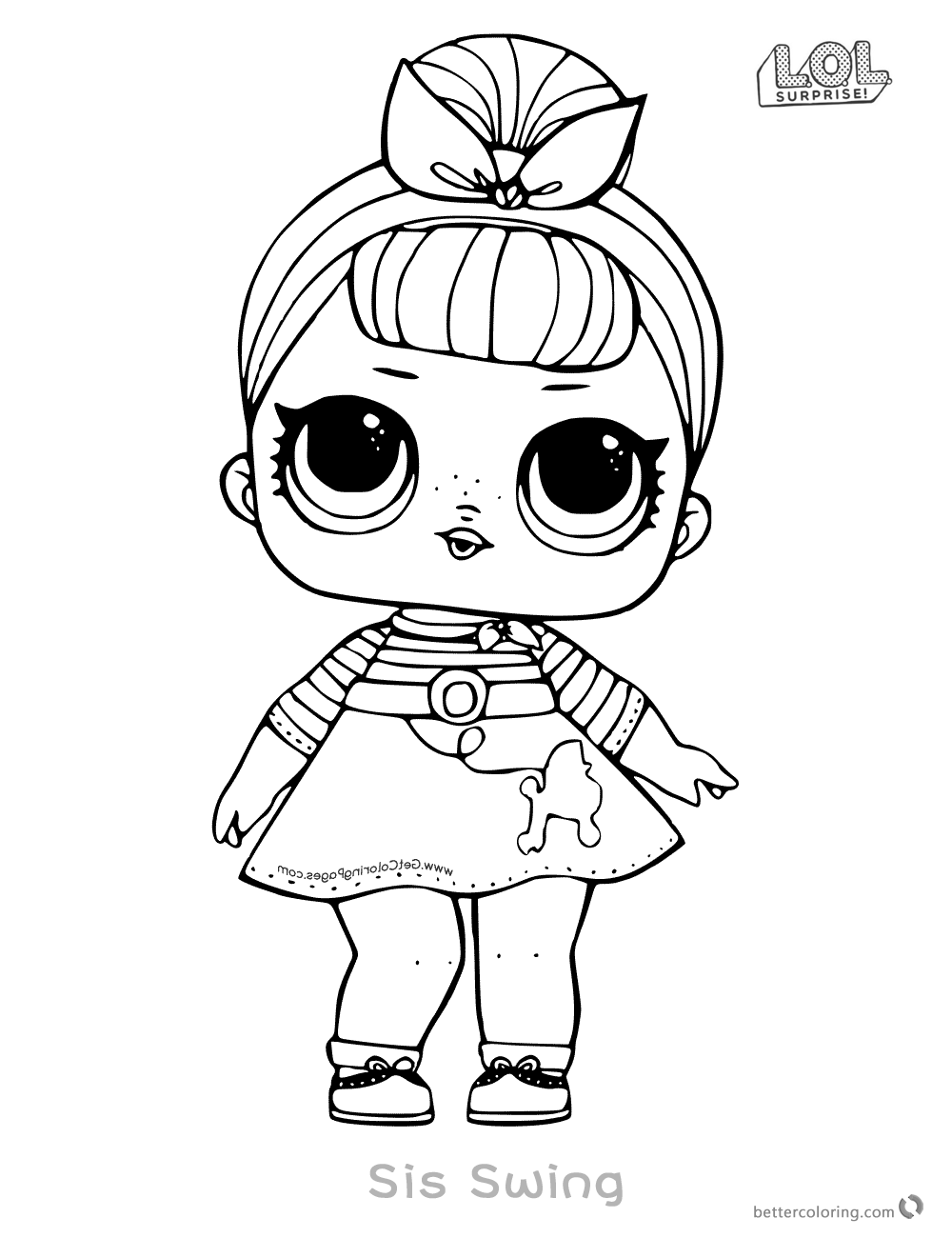 Lol Surprise Doll Coloring Pages Sis Swing Free Printable