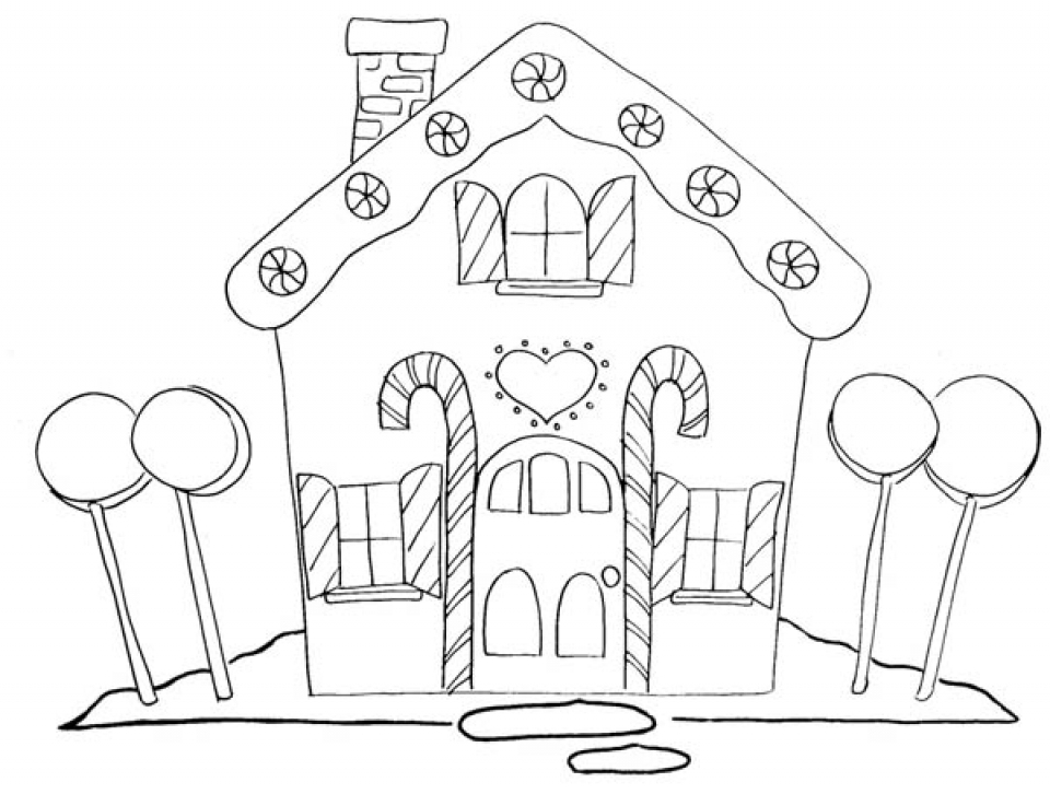 Gingerbread House Coloring Pages Printable Drawings 466 ...