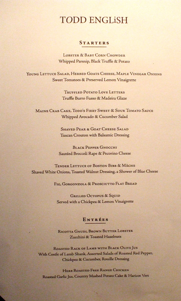 Qm2 Todd English Dinner Menu