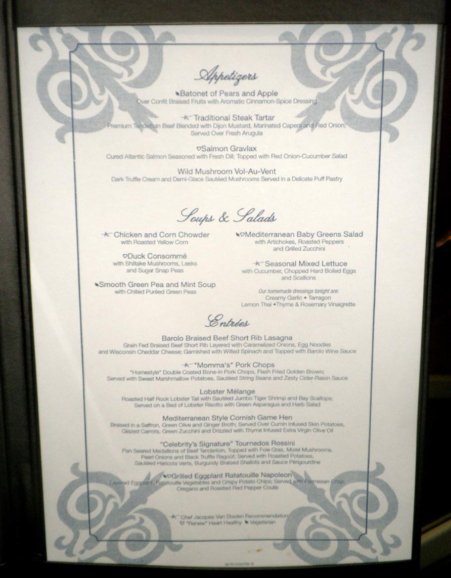 Celebrity Summit Menu Cosmopolitan Restaurant 2010