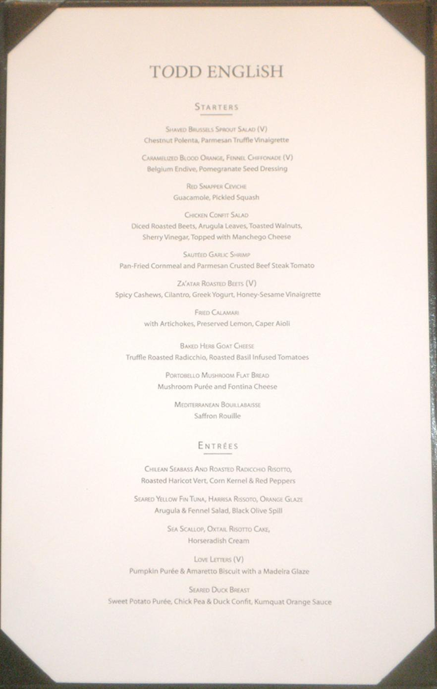 Qm2 Todd English Dinner Menu 2010