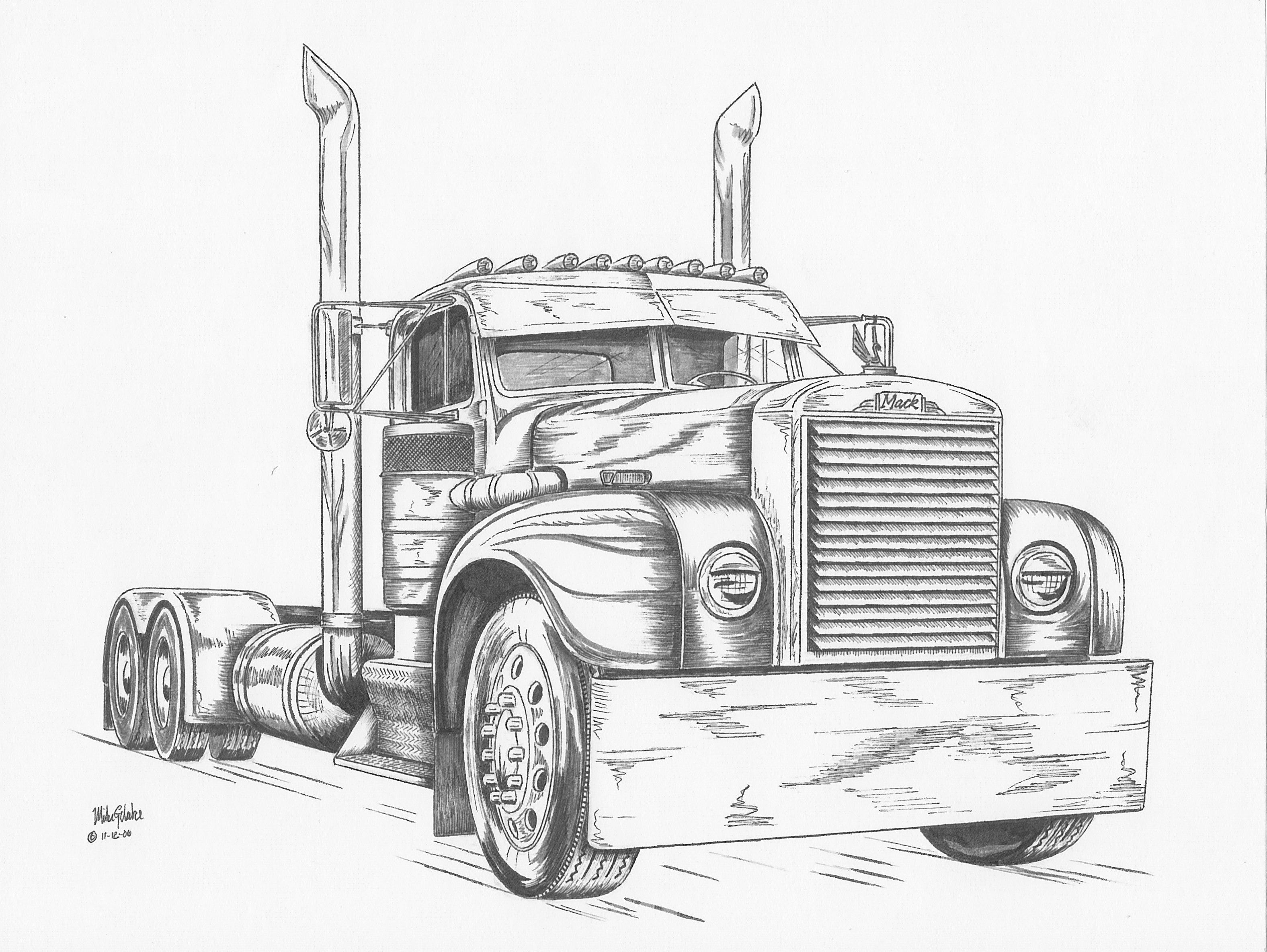 Mack Semi Truck Pencil Drawings