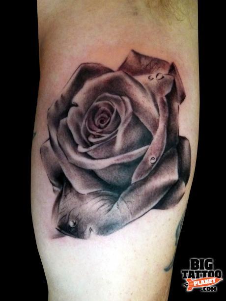Black And Grey Rose Tattoos Realism