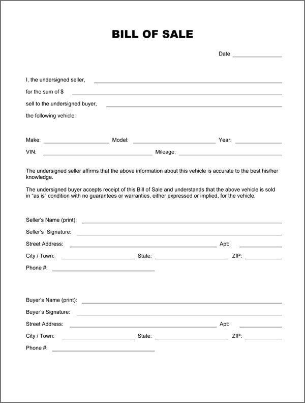 Motor Vehicles Bill Sale Notary Form