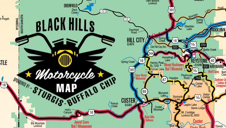 Maps   Black Hills   Badlands   South Dakota Black Hills Motorcycle Map