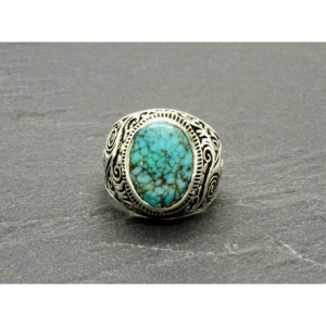 Bague Turquoise naturelle   argent Taille 10   Black Pearl Cr    ations