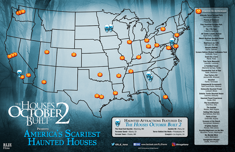 Find The Scariest Haunted Houses In The Country With This Map The map pinpoints some of the country s scariest and most haunted places  including haunted attractions featured in the film  Check it out below