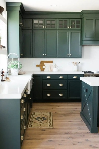 Green Kitchen Cabinet Inspiration   Bless er House A round up of the best green kitchen cabinet paint colors for the hottest  bold