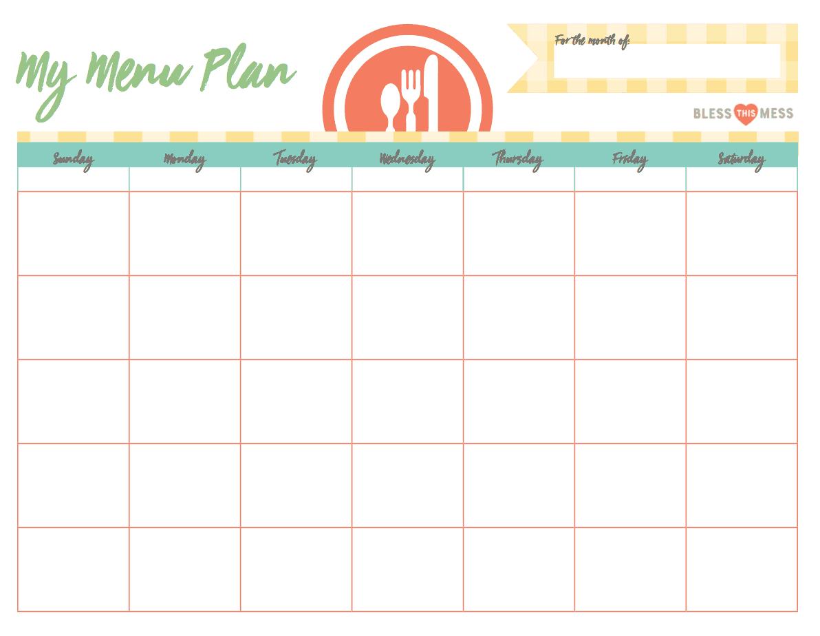 dinner schedule template