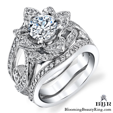 The Large Lotus Swan Double Band Flower Ring Set Bbr626 1 Unique Engagement Rings For Women