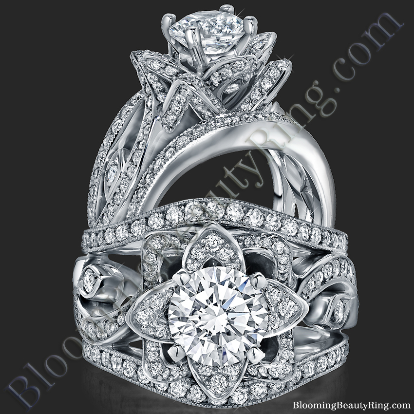 The Original Lotus Swan Double Band Flower Ring Set Bbr630 1 Unique Engagement Rings For