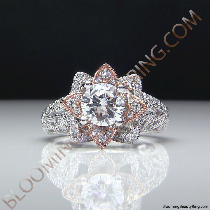 Art Carved Blooming Rose Flower Engagement Ring With Rose Gold Petals Bbr611 Unique