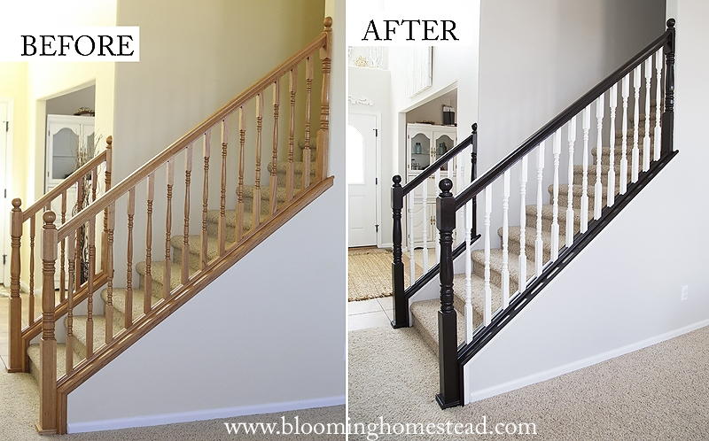 Diy Stair Railing Makeover Blooming Homestead | Building A Stair Rail | Craftsman Style | White | Horizontal | Glass | Inexpensive