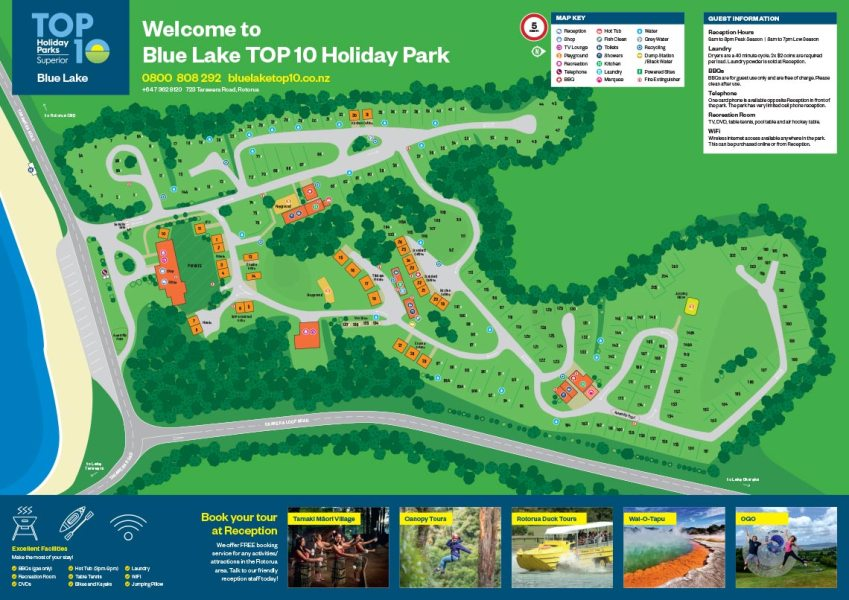 Park Map   Blue Lake TOP 10 Holiday Park  Rotorua Please click Blue Lake TOP 10 Holiday Park Rotorua s Park Map image below  to open in printable PDF format