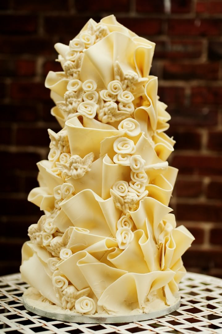 Half Price Wedding Cake With Butterflies And Angels