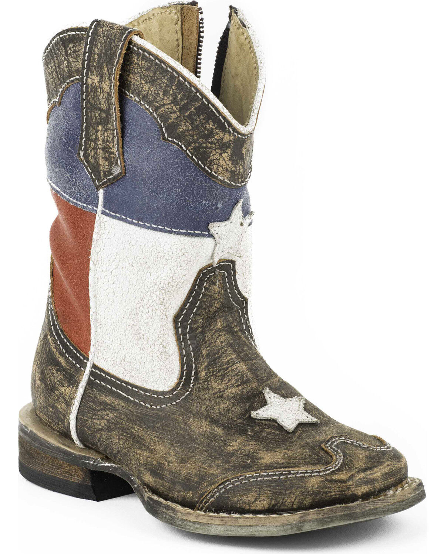 e30520aaa054 Roper Toddler Boys  Texas Flag Inside Zip Cowboy Boots Square Toe