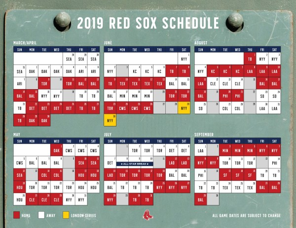 red sox schedule # 1