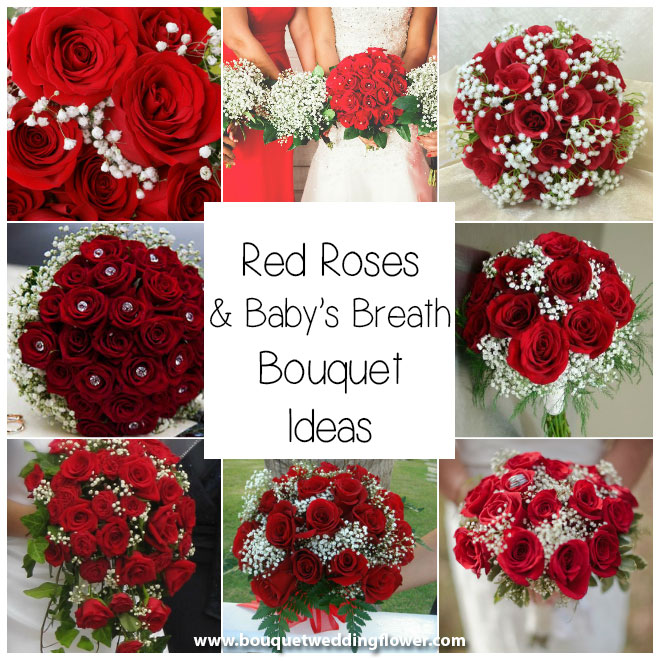 Bride Red Roses Babies Breath Bouquet