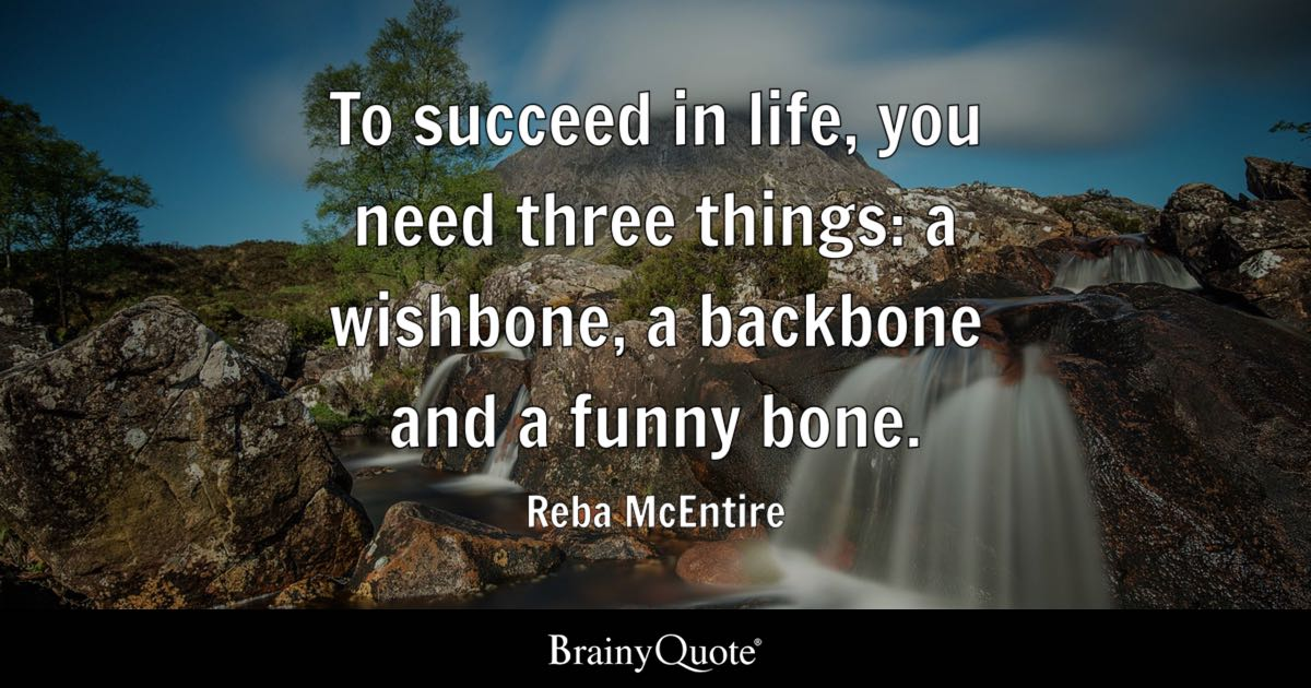 Funny Quotes   BrainyQuote To succeed in life  you need three things  a wishbone  a backbone and
