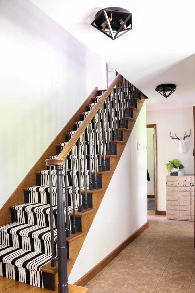 Our Black Painted Staircase Bright Green Door   Rug Runners For Stairs   Narrow   Landing   Victorian   Traditional   Persian