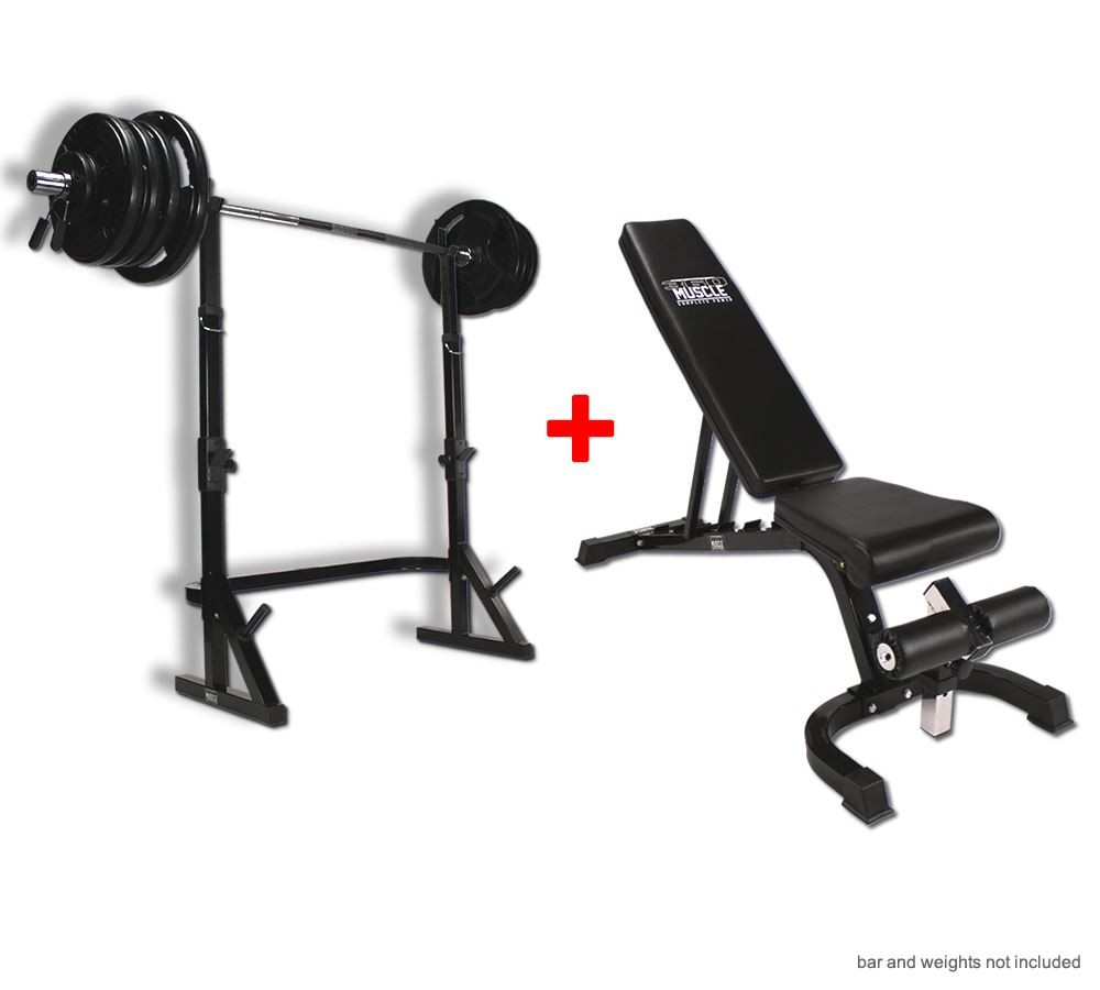Gymano Super 7 Bench And Combo Squat Rack Package Gym