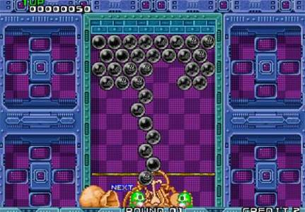 Puzzle Bobble If the row touch the ground you are game over  all the bubbles with turn  grey black and you can t make any more moves