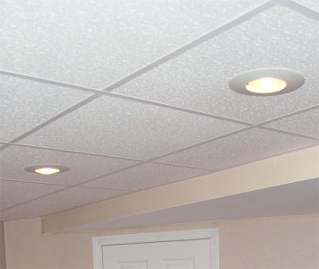 Finished Basement Ceiling New Berlin  Milwaukee  Brookfield   Drop     Total Basement Finishing       drop ceiling tiles are made specifically for  basement environments  Built for long lasting beauty in your new space