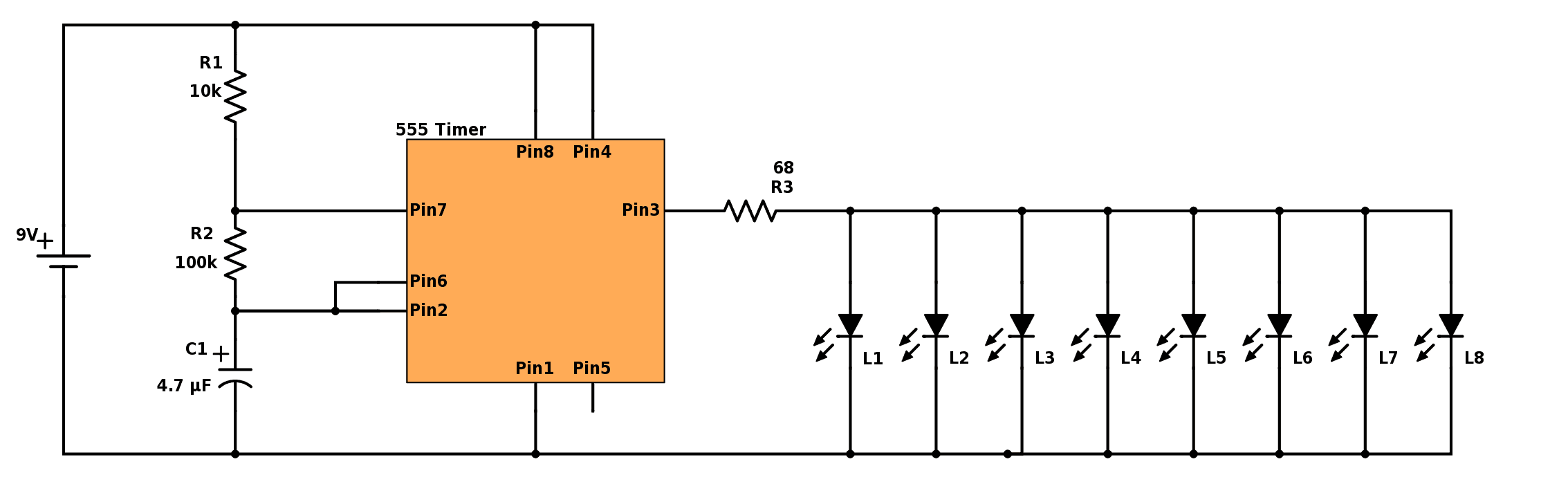Led 555 Timer Astable Mode Buildcircuit