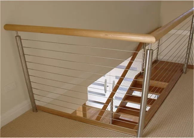Metal Craft 304 Stainless Steel Cable Stair Railing With Top Wood | Stair Railing Wood And Steel | Tall Stair | Spiral Stair | Easy Stair | Office Interior Stair | Different Staircase