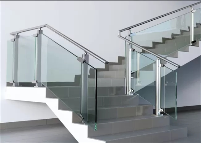 Modern Hotel Glass And Steel Staircase Railing With Clear Brown | Steel Stair Railing With Glass | Stair Residential Building | Free Standing | Tempered Glass | Steel Pipe | Floor Mounted Glass