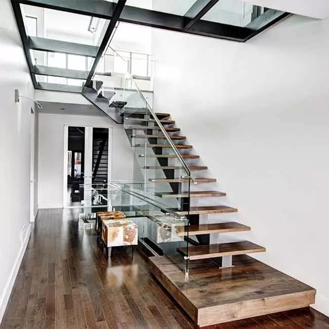 American Standard Stair Single Mono Steel Beam Steel Glass Railing | Stair Railing Wood And Steel | Tall Stair | Spiral Stair | Easy Stair | Office Interior Stair | Different Staircase