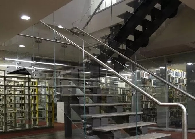 U Shape Tempered Glass Stair Railings Interior Steel Staircase   Tempered Glass Stair Railing   Hand Rail   Glass Design   Toughened Glass   Staircase   Round Staircase